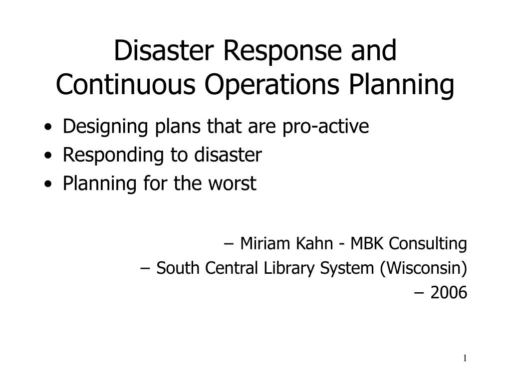 disaster response and continuous operations planning l.