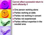 cannot effect successful return to work efficiently if