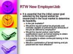 rtw new employer job