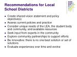 recommendations for local school districts