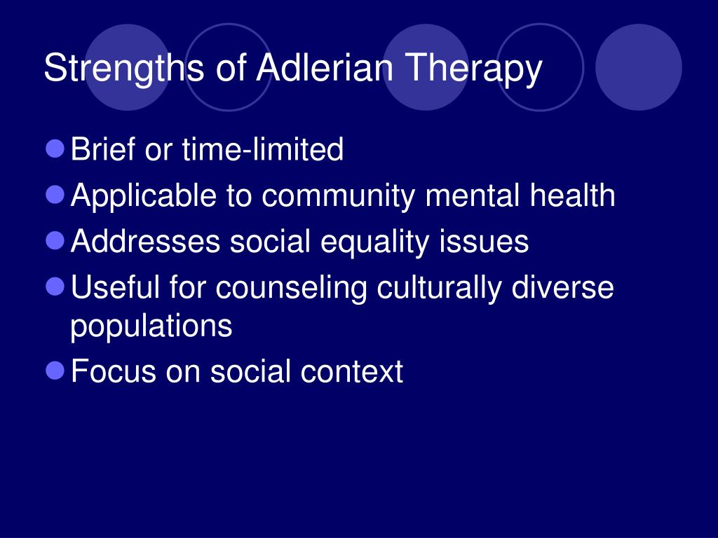 adelerian therapy Are you the youngest, middle, or oldest sibling in your family learn how birth order might affect other aspects of your life.
