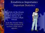 estad sticas importantes important statistics6