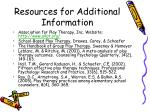 resources for additional information