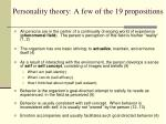 personality theory a few of the 19 propositions