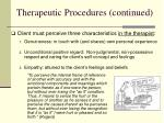 therapeutic procedures continued
