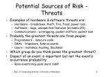 potential sources of risk threats