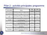 pilier 2 activit s principales programme