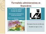 formalit s administratives et financi res