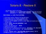solaris 8 restore ii
