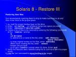 solaris 8 restore iii