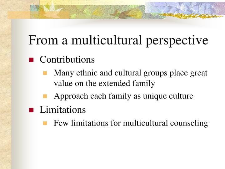 multicultural counselling values essay This essay, cross cultural family values in mental health counseling, discusses that ccultural competency refers to the ability of professionals to culturally.
