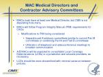 mac medical directors and contractor advisory committees