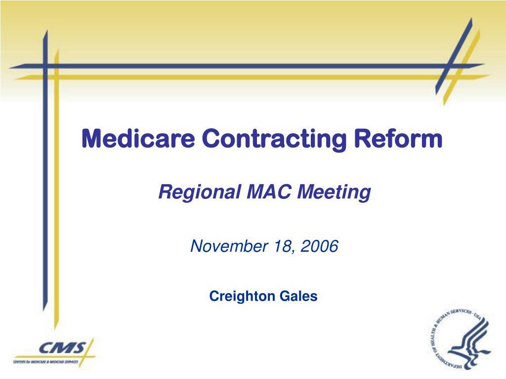 medicare contracting reform l.