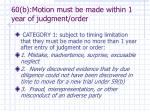 60 b motion must be made within 1 year of judgment order