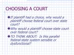 choosing a court