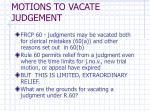 motions to vacate judgement