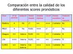 comparaci n entre la calidad de los diferentes scores pron sticos