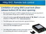 hwg sh2 remote lock control