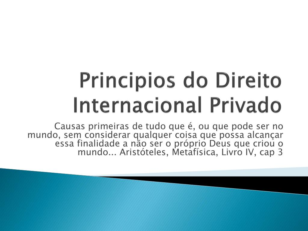 principios do direito internacional privado l.