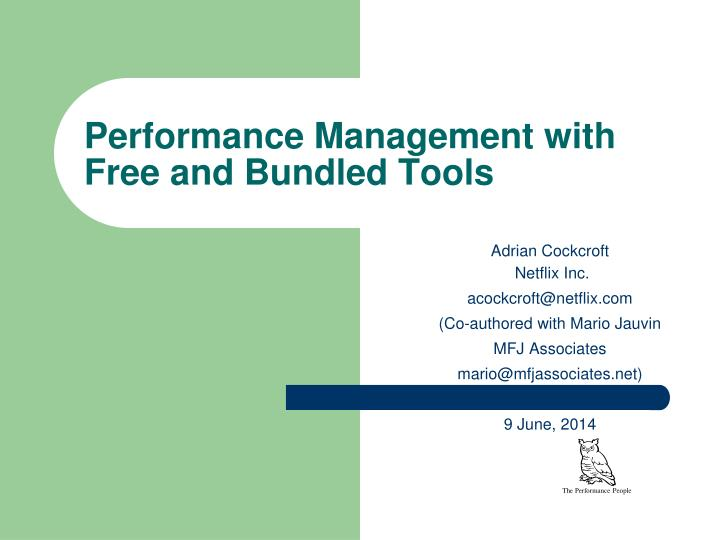 performance management with free and bundled tools n.