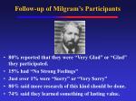 follow up of milgram s participants