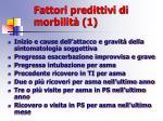 fattori predittivi di morbilit 1
