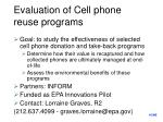 evaluation of cell phone reuse programs
