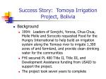 success story tomoya irrigation project bolivia