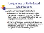 uniqueness of faith based organizations22