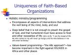 uniqueness of faith based organizations24