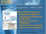 management and operation tnms core