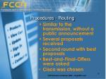 procedures routing