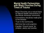 mental health partnerships with black churches during times of trauma