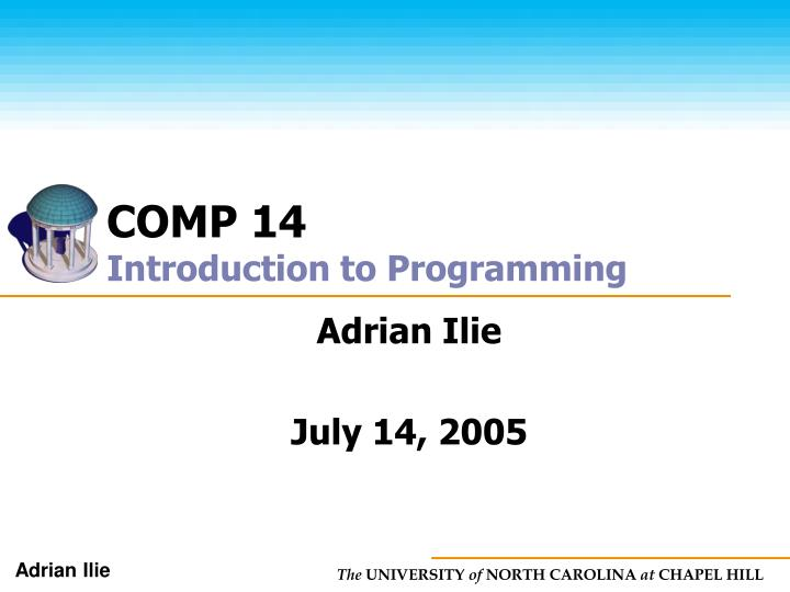 comp 14 introduction to programming n.