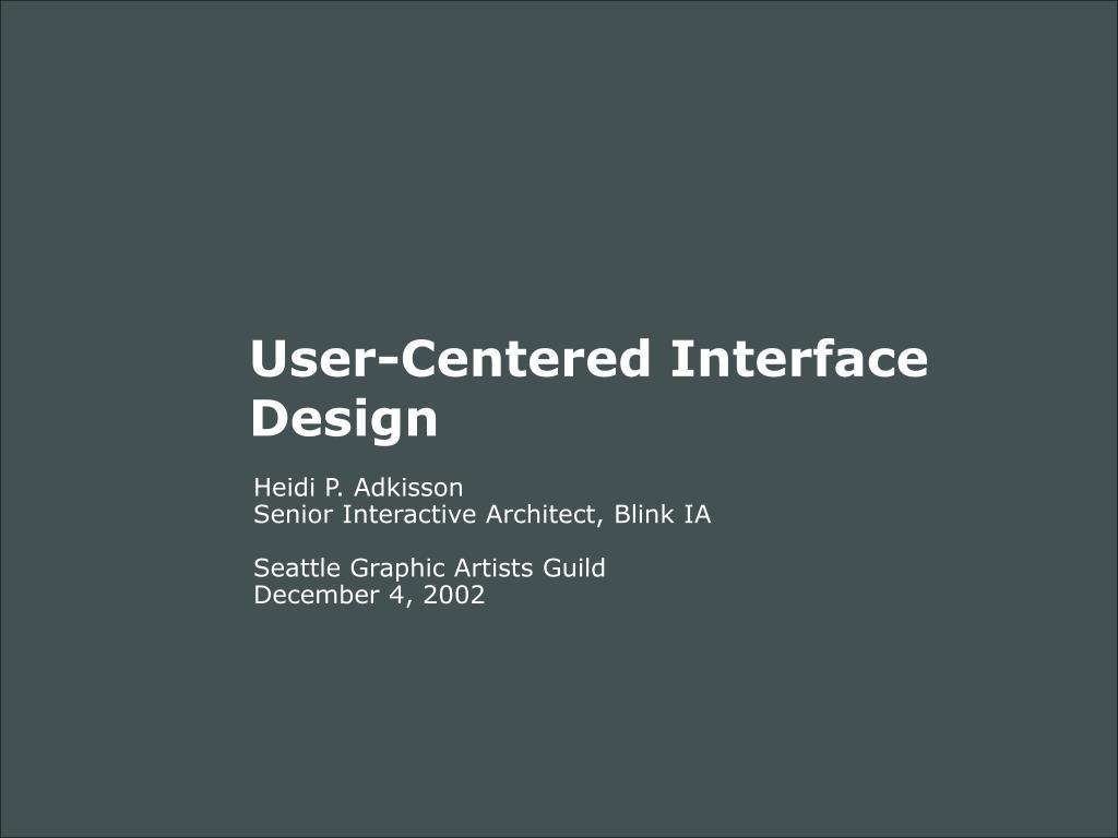 user centered interface design l.