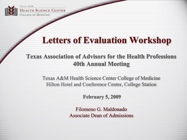 letters of evaluation workshop n.