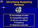 advertising budgeting methods