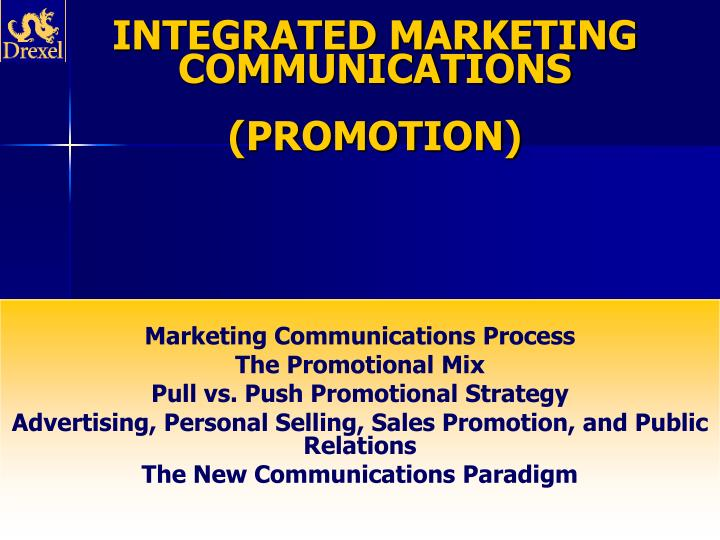 Integrated marketing communications promotion