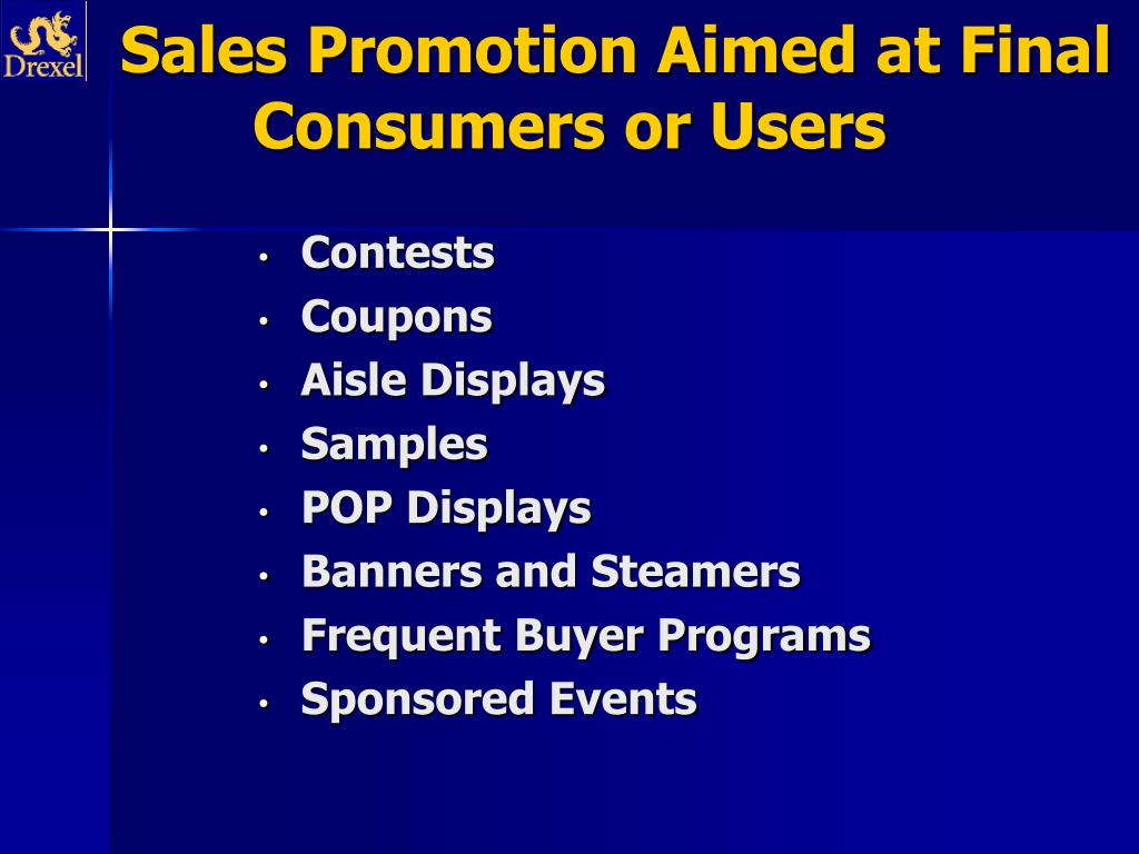 Sales Promotion Aimed at Final Consumers or Users