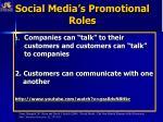 social media s promotional roles