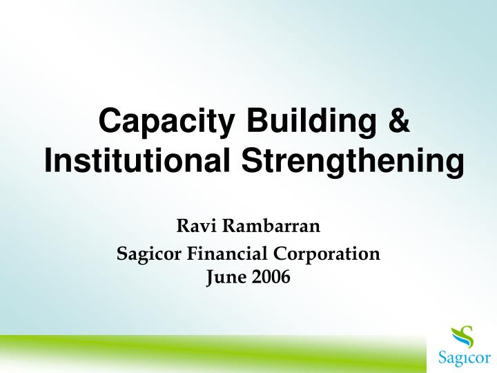 capacity building institutional strengthening n.