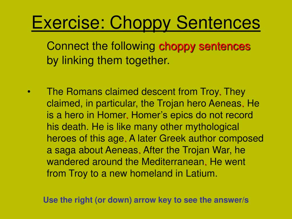 exercise choppy sentences l.