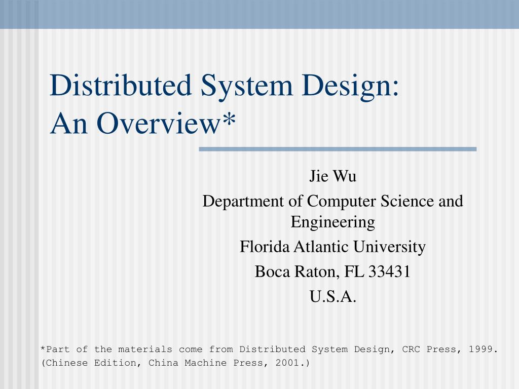 distributed system design an overview l.