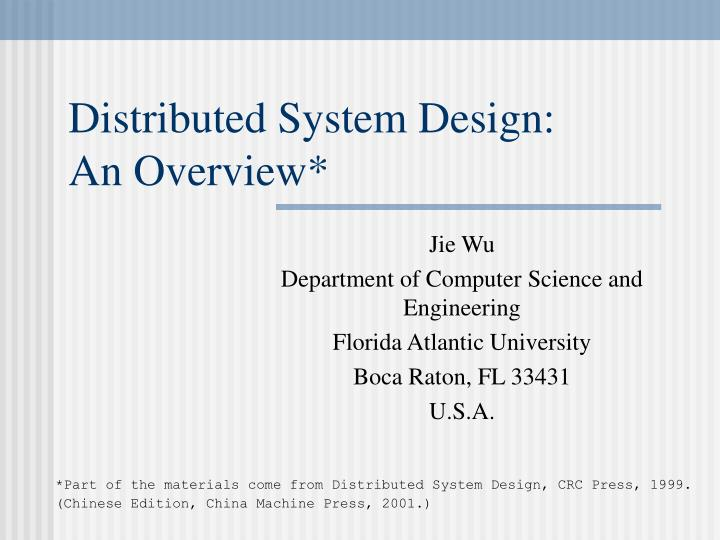 distributed system design an overview n.