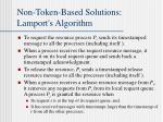 non token based solutions lamport s algorithm