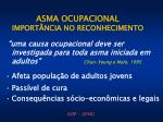 asma ocupacional import ncia no reconhecimento