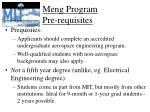 meng program pre requisites
