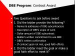 dbe program contract award