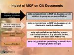 impact of mqf on qa documents