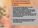the code of practice for programme accreditation coppa